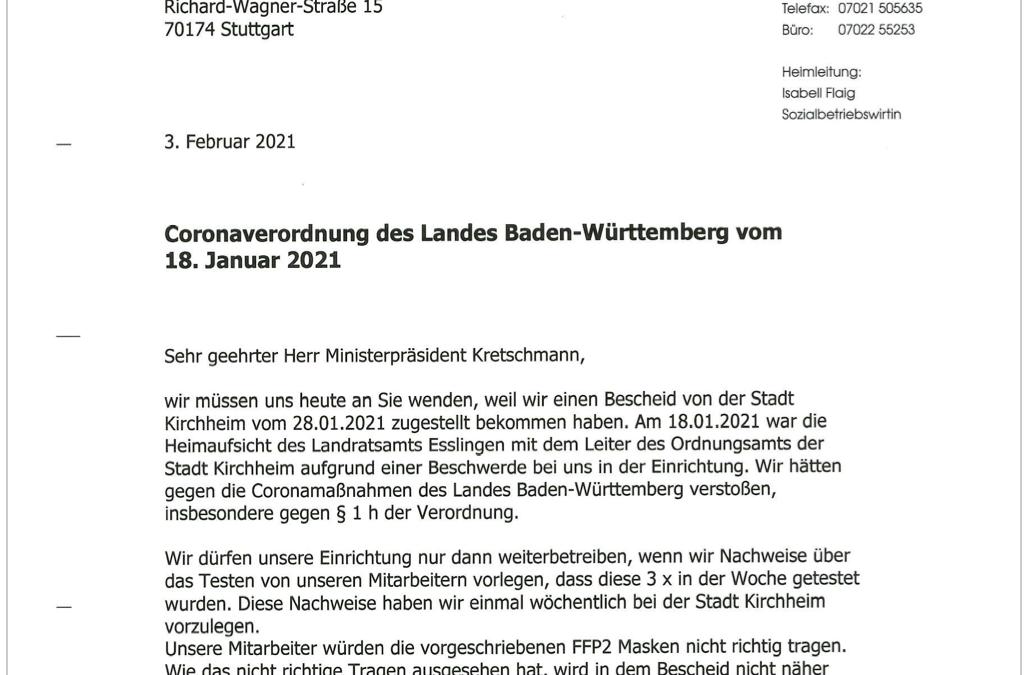 Unser Brief an Herrn Winfried Kretschmann zur Coronaverordnung