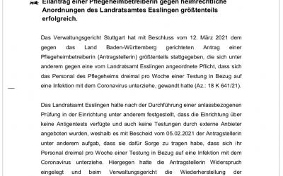 Das Verwaltungsgericht Stuttgart hat für uns entschieden!